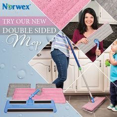 Norwex Double-Sided Mop:  Our Double-Sided Mop System swivels and flips for double cleaning duty. Saves you time and storage space. Available as a complete system as well as individual components:    The Dry Mop Pad attracts dust like a magnet and picks up the tiniest particles.