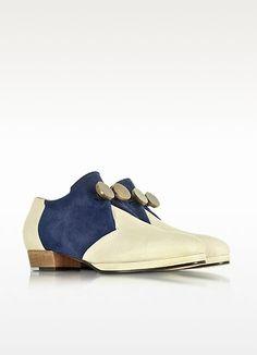 Catahoula - Chaussures à Lacets en Cuir Beige et Suède Bleu Nuit - Zoe Lee  Cuir 9ce81a9b7954