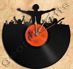 Wall Clock DJ Party  Vinyl Record Clock Upcycled by geoartcrafts, €23.00