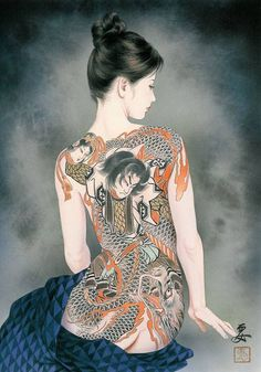 Tattoo fantasy of Ozuma Kaname (小妻要, 1939 - ~ a painter from Tokyo, who worked closely with japanese tattoo-artists. Ozuma Kaname was not a Tattoo Artist. His work is often inspired by customers of his friend, master tattooist Horiyoshi III. Japanese Art Modern, Japanese Art Prints, Japanese Painting, Japanese Girl, Yakuza Girl, Japanese Tattoo Artist, Geisha Art, Irezumi Tattoos, Geisha Tattoos