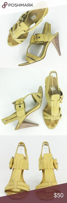 """Boutique 9 Nubuck Leather Lattice Sandals Heel 6.5 Boutique 9 Women's Sandals Mustard Yellow Round Open Toe Brass Buckle Chunky Lattice Ankle Wrap Stacked Leather Heel Sandals.  Retails: $150 Size: 6.5  Heel Height: 3.5"""" Closure: Buckle Upper / Lining / Sole: Leather Country: China Style #: BTMariano Condition: Pre-Owned Good & Loved. Has Toe Taps. Slight Nicks on Heel, can be addressed by cobbler. Has lots of life!Please review pictures and contact me if you have any questions. WT: 4 SKU…"""