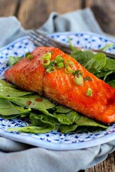 Soy-Honey Glazed Salmon…Ready in 10 minutes or less, this delicious salmon is perfect for a weekday meal! 192 calories and 4 Weight Watchers SmartPoints | cookincanuck.com -