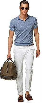Great fit on the Polo. Polo Shirt Outfits, Polo Outfit, Blue Polo Shirts, Polo Shirt White, Light Blue Shirts, Men's Outfits, Casual Outfits, Cool Summer Outfits, Summer Fashion Outfits