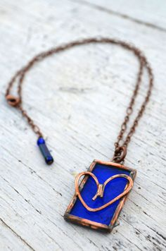 Blue Stained Glass Jewelry Heart Necklace by BayouGlassArts, $32.00
