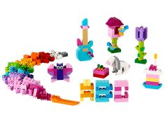Build whatever your heart desires with LEGO® bricks in 20 different bright colors!