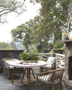 Outdoor living   Terrace Teak Dining Table via Serena & Lily