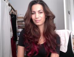 red on brown ombre hair