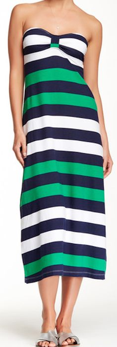 perfect summer green bandeau striped dress