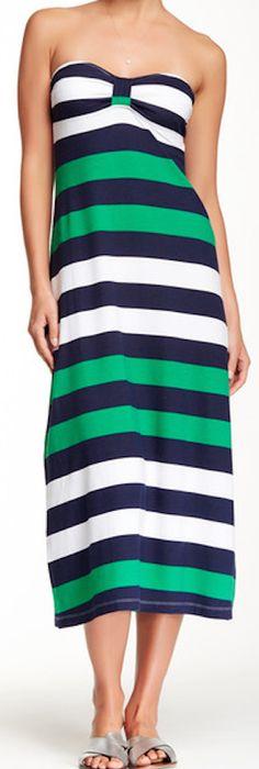 perfect summer green bandeau striped dress
