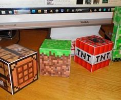Can't believe I forgot to pin this. We made various papercrafts and hung them from the ceiling as decorations....The Ultimate Guide to Minecraft Papercrafts!