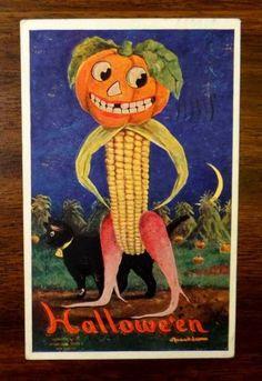 ANTHROPOMORPHIC-JACK-O-LANTERN-CORN-MAN-CAT-Wall-Fantasy-HALLOWEEN-Postcard