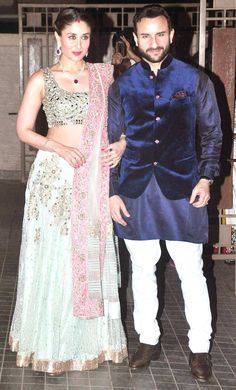 Kareena Kapoor and Saif Ali Khan at Soha Ali Khan, Kunal Khemu's wedding reception. #Bollywood #Fashion #Style #Beauty
