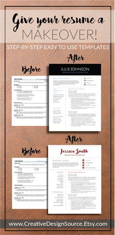 Professional CV Format Microsoft Word and Pages -- templates for easy makeovers! www.CreativeDesignSource.Etsy.com