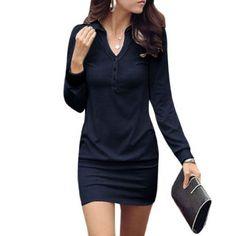 Allegra K Point Collar Button Upper Long Sleeve Mini Dress for Women - different and cute