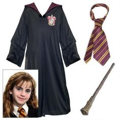 This Harry Potter costume kit contains all the elements needed to be Hermione Granger: Gryffindor robe and necktie and Hermione's wand!