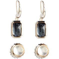 Ippolita Rock Candy Pyrite Stud & Dangle Earring Set ($210) ❤ liked on Polyvore featuring jewelry, earrings, silver, hammered earrings, emerald cut earrings, holiday earrings, long earrings and stud earrings