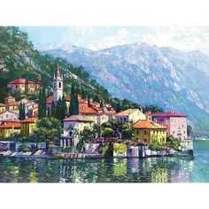 """Printfinders Reflections of Lake Como by Howard Behrens Painting Print on Canvas Size: 18"""" x 24"""""""