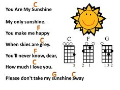 Mr Robbie's Music Blog ♫: You Are My Sunshine lyrics with ukulele chords