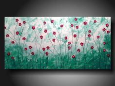 """Red Poppies, large textured painting 36"""""""