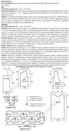 Выкройка, схемы узоров и обозначения с описанием для вязания крючком ажурной двойки из топика и жакета-болеро размера 42-44.