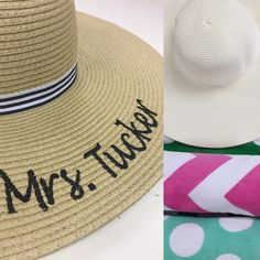 Sun hats! Jump on the trend now and monogram your hat. Add your name, monogram or cute message. ☀️🏖#summer #sunhat #monogram #monogrammed #preppy #summerfashion  #aew