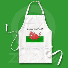 Customizable Cute Welsh Red Dragon Apron from Zazzle.com