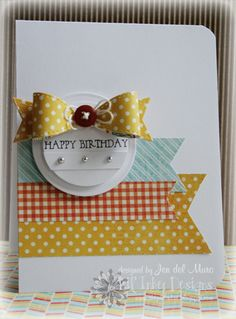 bow dies from Lil' Inker on this CAS birthday card that lets the bow {embellished with a button and linen thread} take center stage…