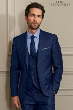 8e33a8bd77222 Buy Signature Bright Blue Slim Fit Suit  Jacket from the Next UK online shop