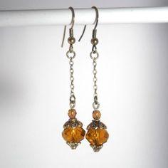 Boucles d'oreille en perles de cristal marrondoré par kalaniparis