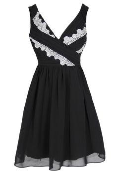 Think Greek Pleated Chiffon Designer Dress by Minuet in Black  www.lilyboutique.com