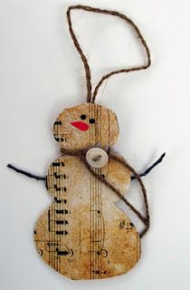 snowman from sheet music could be an idea for gift tag as well