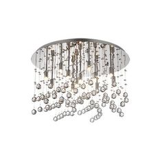 Circular frame and lamp holders in chrome metal. Pendants made of cut crystals octagons and spheres.