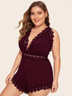 Plus Lace Trim Romper Bodysuit Plus Size Intimates, Lace Bodysuit, Bridesmaid Jewelry, Lace Trim, Rompers, Sexy, Fabric, Contrast, Clothes