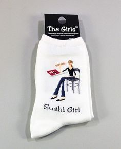 Sushi!!!     http://www.theclothingcove.com/Socks-and-Hosiery/K-Bell-Sushi-Girl-Crew-Sock/PABBIBALCJOOJKHH/3040-3129/Product