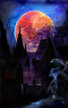 a5, watercolour on paper, photoshop. I hope I can do better one someday with more realistic moon (and everything) Bloodborne belongs to From Software/Sony