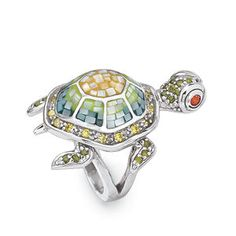 Mother of Pearl and CZ Silverplated Turtle Ring