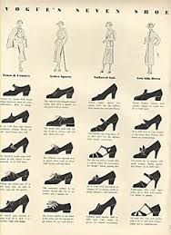 Rounded toes/wide, thick heals and also ankle strap shoes were being use as a part of fashion in the 1930s.