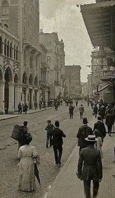 The 'Grande Rue de Péra', or 'Cadde-i Kebir' in Turkish (before 1927), and now named 'İstiklâl Caddesi'.  In the Beyoğlu district, Istanbul.  The picture dates from 1910.