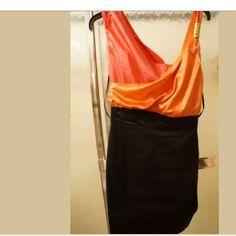 Xoxo orange black dress A summer dress XOXO halter dress with hidden side zipper. Beautiful red/orange and black dress. Size 7/8 bondage bottom XOXO Dresses