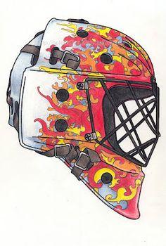 Chamas / Flames Litografia colorida a lápis - capacete de hóquei Lithography and colour pencils - hockey mask