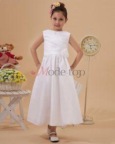 Ärmelloses normale Taille schlichtes Kommunionkleid/ Blumenmädchenkleid - Mode-Top