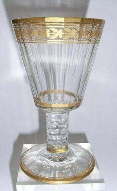 Gilded Glasses - Classical style Daum here, intricately cut and classically guilded dating around 1898