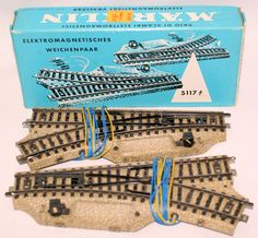 "Vintage HO Scale 5117 MARKLIN Märklin Pair of Electric Turnout ""M"" Track Switches in Box"
