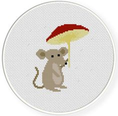INSTANT DOWNLOAD Stitch Mushroom Mouse PDF by DailyCrossStitch