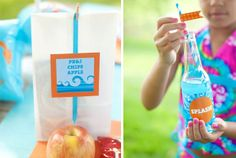 Splash bash pool party lunch labels and beverage wrappers ~ aqua and blue party printables