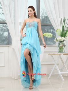 135.00$  Buy here - http://vixkp.justgood.pw/vig/item.php?t=7hymx4935 - Blue High Low Strapless Chiffon Beaded Bodice Pleated Long Prom Dresses