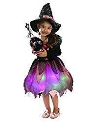 Wantschun Girls Led Light Up Witch Costume Set Fairytale Dress-up Witch Dress + Hat + Candy Bag + Magic stick (Tag size Best Halloween Costumes & Dresses USA