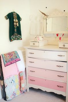 Jazz wants a pink dresser - I'm not convinced. I think an ombre dresser may be our solution! Pink Dresser, Colorful Dresser, Dresser As Nightstand, Dresser Ideas, Dresser Drawers, Dressers, Baby Decor, Nursery Decor, Nursery Ideas