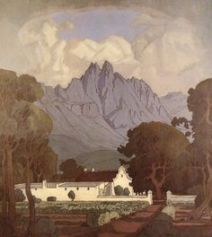 Mountain Landscape -Jacobus Pierneef (usually referred to as Pierneef) was a South African landscape artist, generally considered to be one of the best of the old South African masters. Fantasy Landscape, Landscape Art, Landscape Paintings, What Is Landscape Architecture, South Africa Art, Landscaping Near Me, Landscaping Software, African Paintings, South African Artists