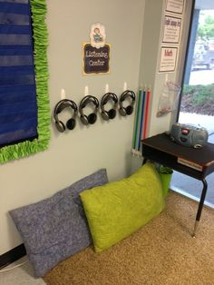 Black and Neon. Listening Center. First Grade Fancy: The BIG Classroom Reveal: